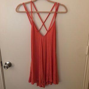 BooHoo Orange Strappy Cross Strap Back Dress NWT